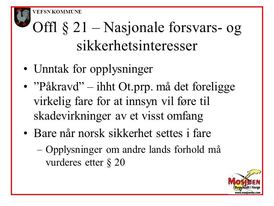 Offl § 21 – Nasjonale forsvars- og sikkerhetsinteresser