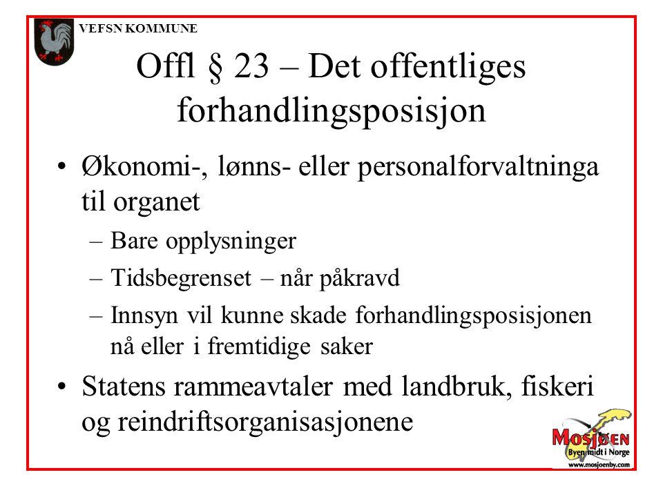 Offl § 23 – Det offentliges forhandlingsposisjon