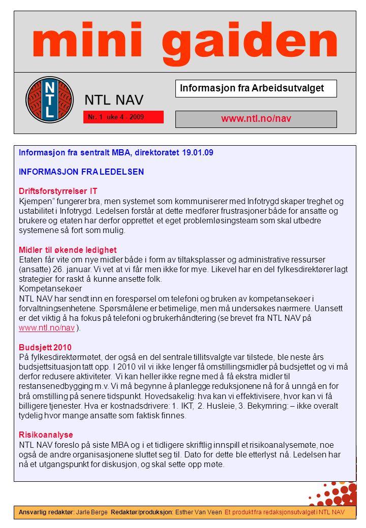 mini gaiden Informasjon fra Arbeidsutvalget www.ntl.no/nav