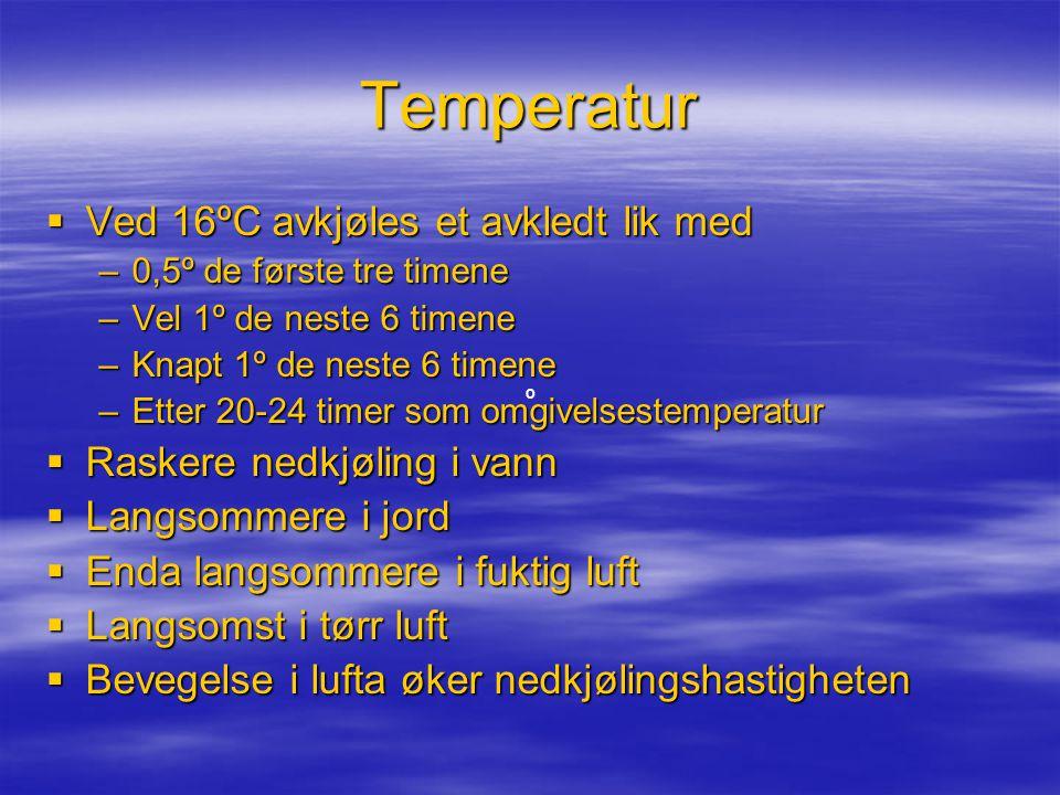 Temperatur Ved 16ºC avkjøles et avkledt lik med