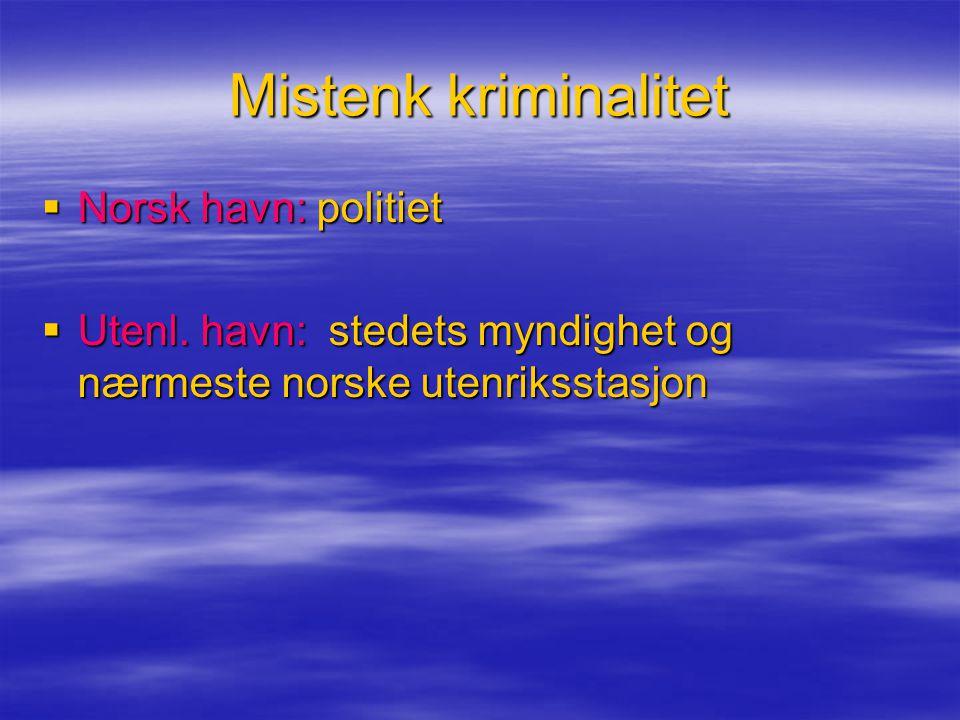 Mistenk kriminalitet Norsk havn: politiet