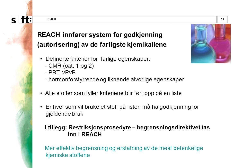 REACH REACH innfører system for godkjenning (autorisering) av de farligste kjemikaliene. Definerte kriterier for farlige egenskaper: