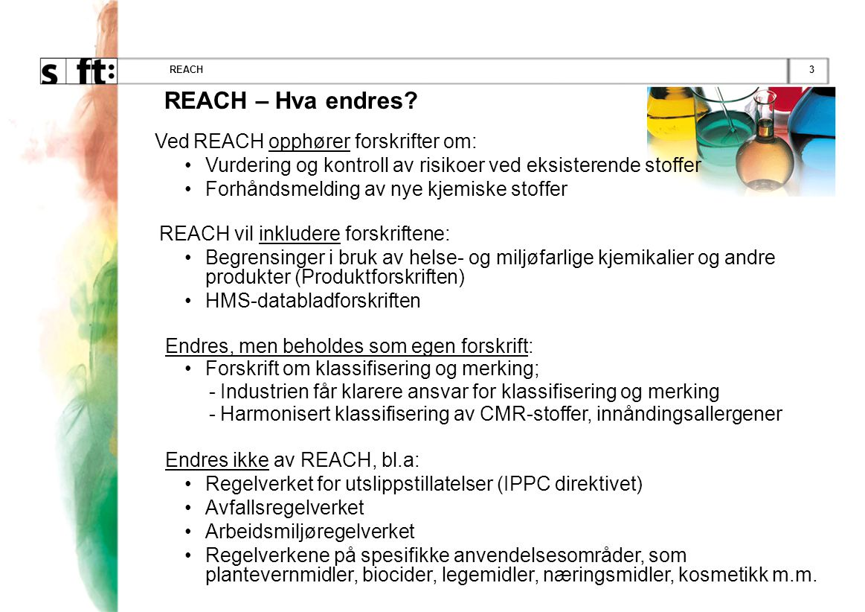 REACH – Hva endres Ved REACH opphører forskrifter om: