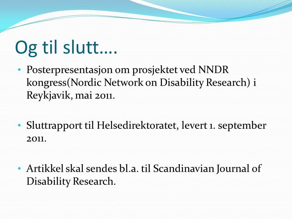 Og til slutt…. Posterpresentasjon om prosjektet ved NNDR kongress(Nordic Network on Disability Research) i Reykjavik, mai 2011.