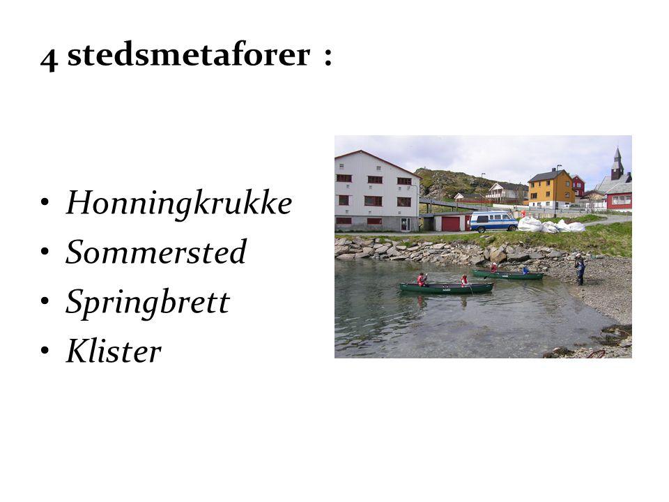 4 stedsmetaforer : Honningkrukke Sommersted Springbrett Klister