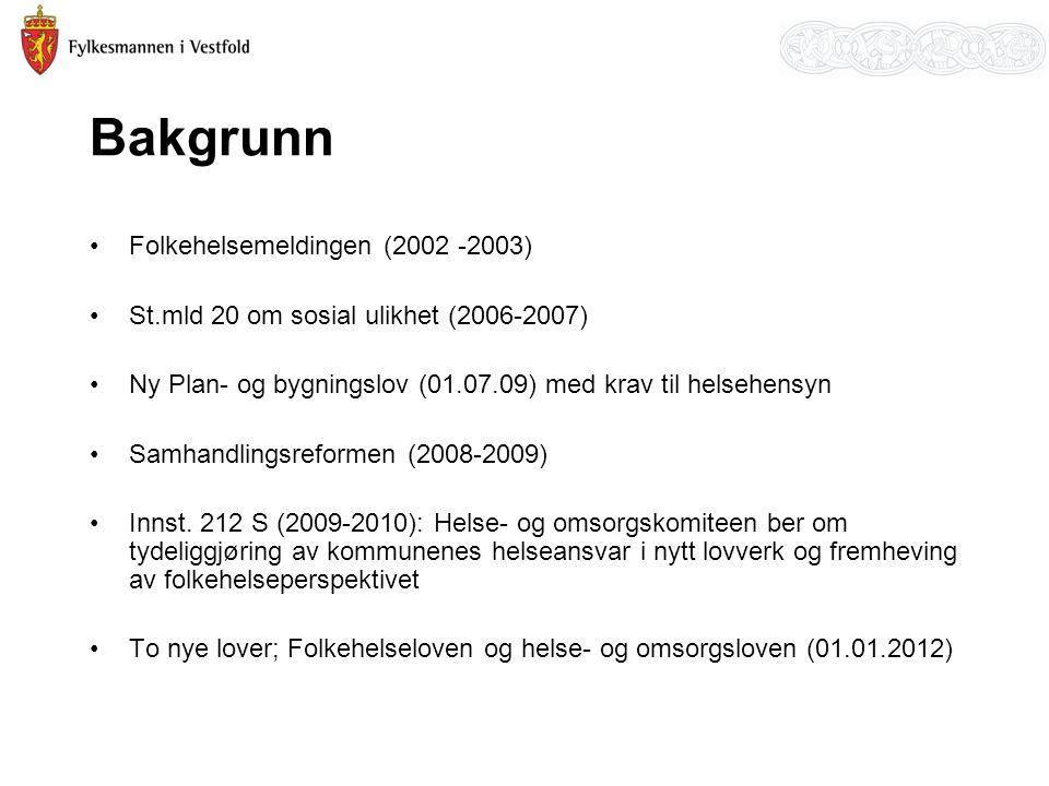Bakgrunn Folkehelsemeldingen (2002 -2003)