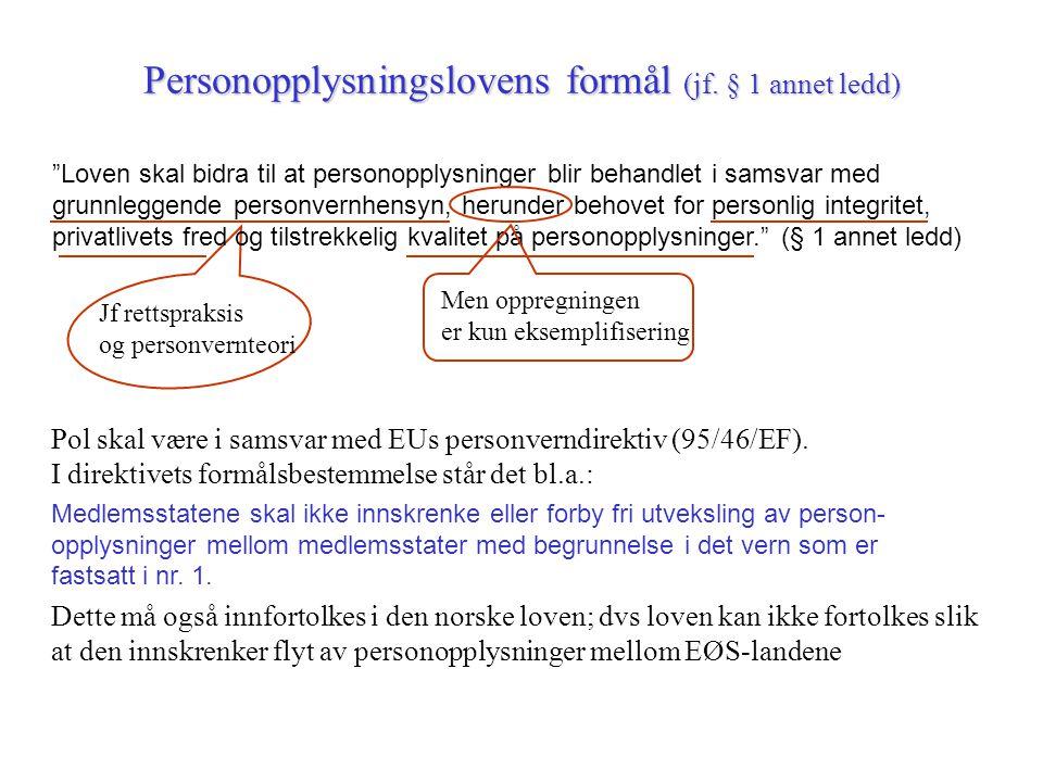 Personopplysningslovens formål (jf. § 1 annet ledd)