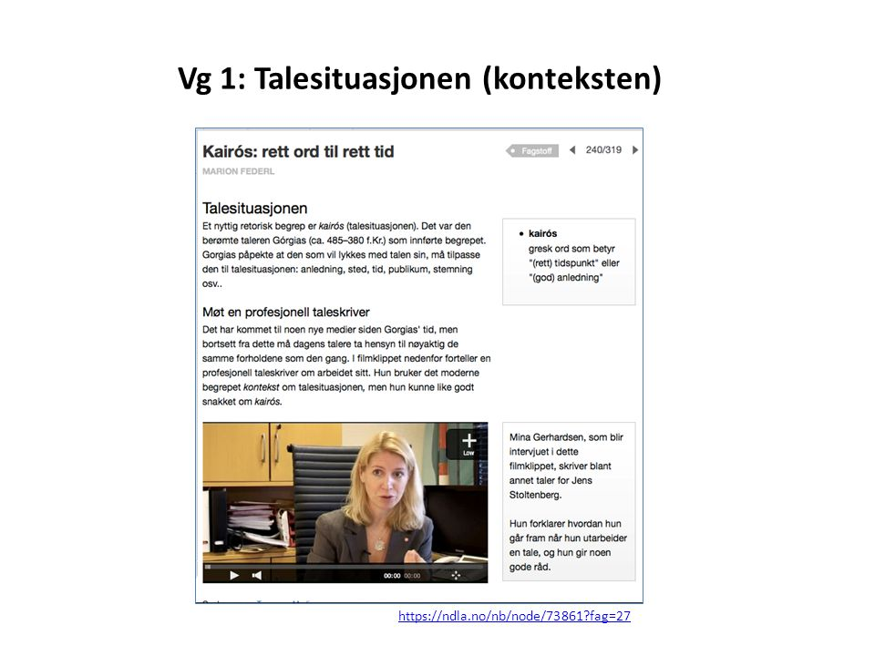 Vg 1: Talesituasjonen (konteksten)