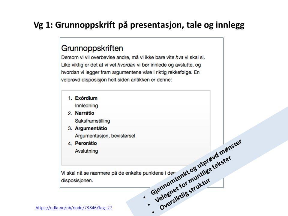 Vg 1: Grunnoppskrift på presentasjon, tale og innlegg