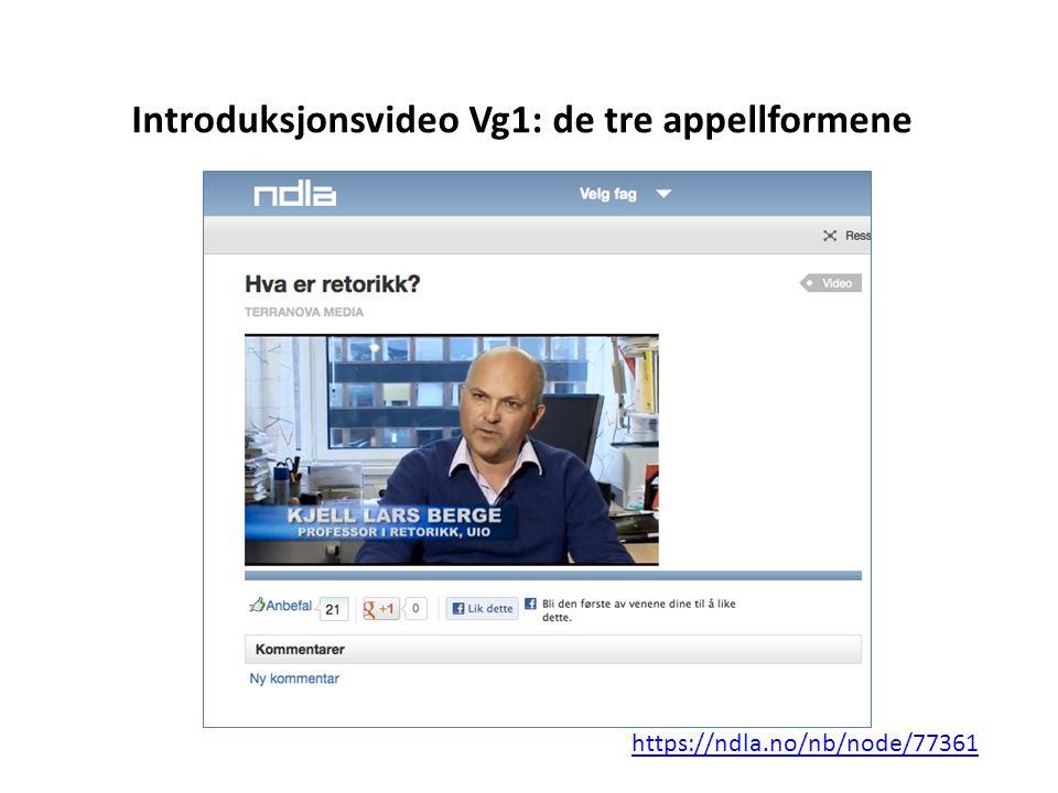Introduksjonsvideo Vg1: de tre appellformene