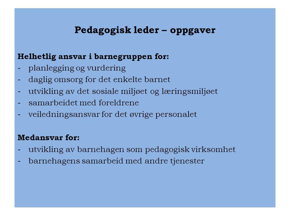 Pedagogisk leder – oppgaver