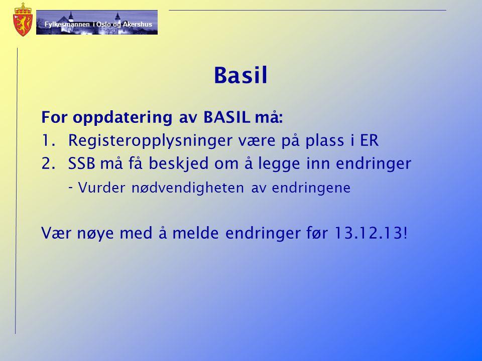 Basil For oppdatering av BASIL må: