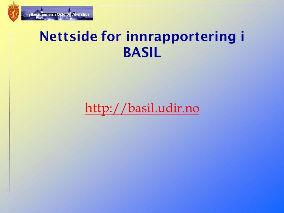 Nettside for innrapportering i BASIL