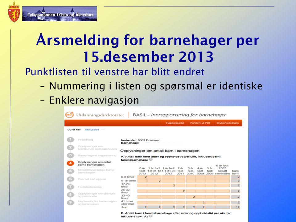 Årsmelding for barnehager per 15.desember 2013