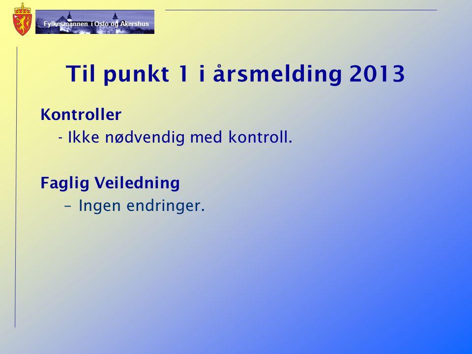 Til punkt 1 i årsmelding 2013 Kontroller