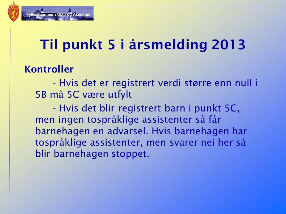 Til punkt 5 i årsmelding 2013 Kontroller