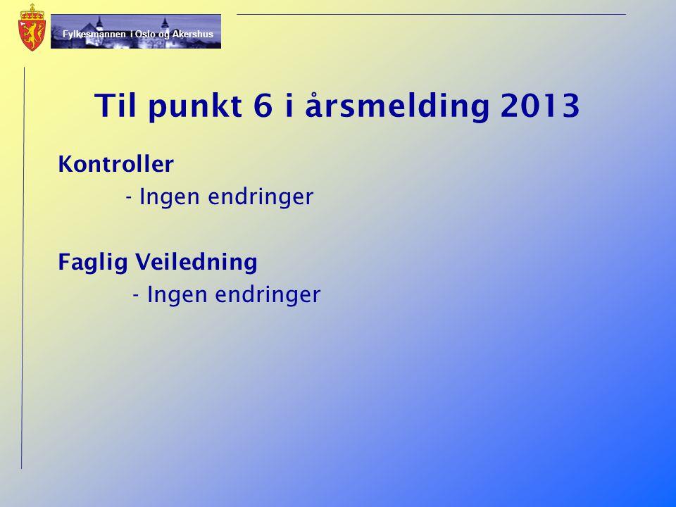 Til punkt 6 i årsmelding 2013 Kontroller - Ingen endringer