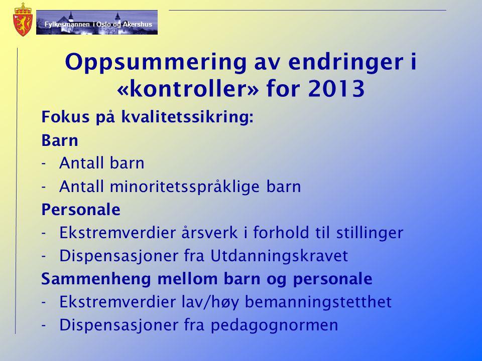 Oppsummering av endringer i «kontroller» for 2013