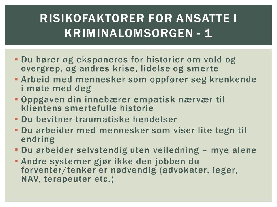 Risikofaktorer for ANSATTE I KRIMINALOMSORGEN - 1