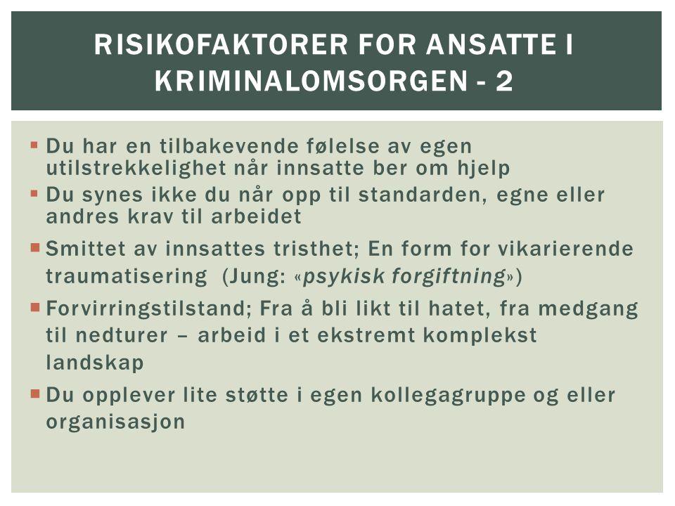 Risikofaktorer for ANSATTE I KRIMINALOMSORGEN - 2