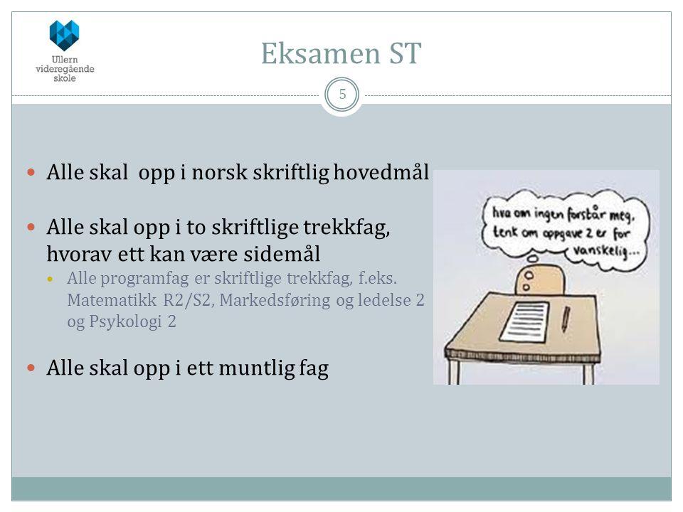 Eksamen ST Alle skal opp i norsk skriftlig hovedmål
