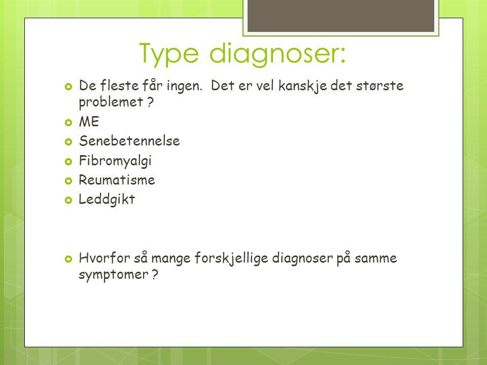 Type diagnoser: De fleste får ingen. Det er vel kanskje det største problemet ME. Senebetennelse.