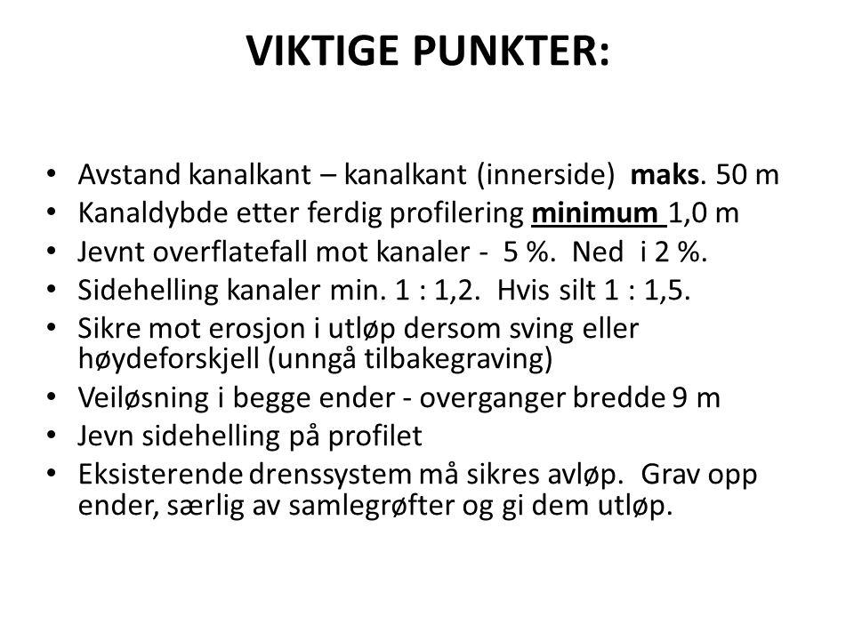 VIKTIGE PUNKTER: Avstand kanalkant – kanalkant (innerside) maks. 50 m