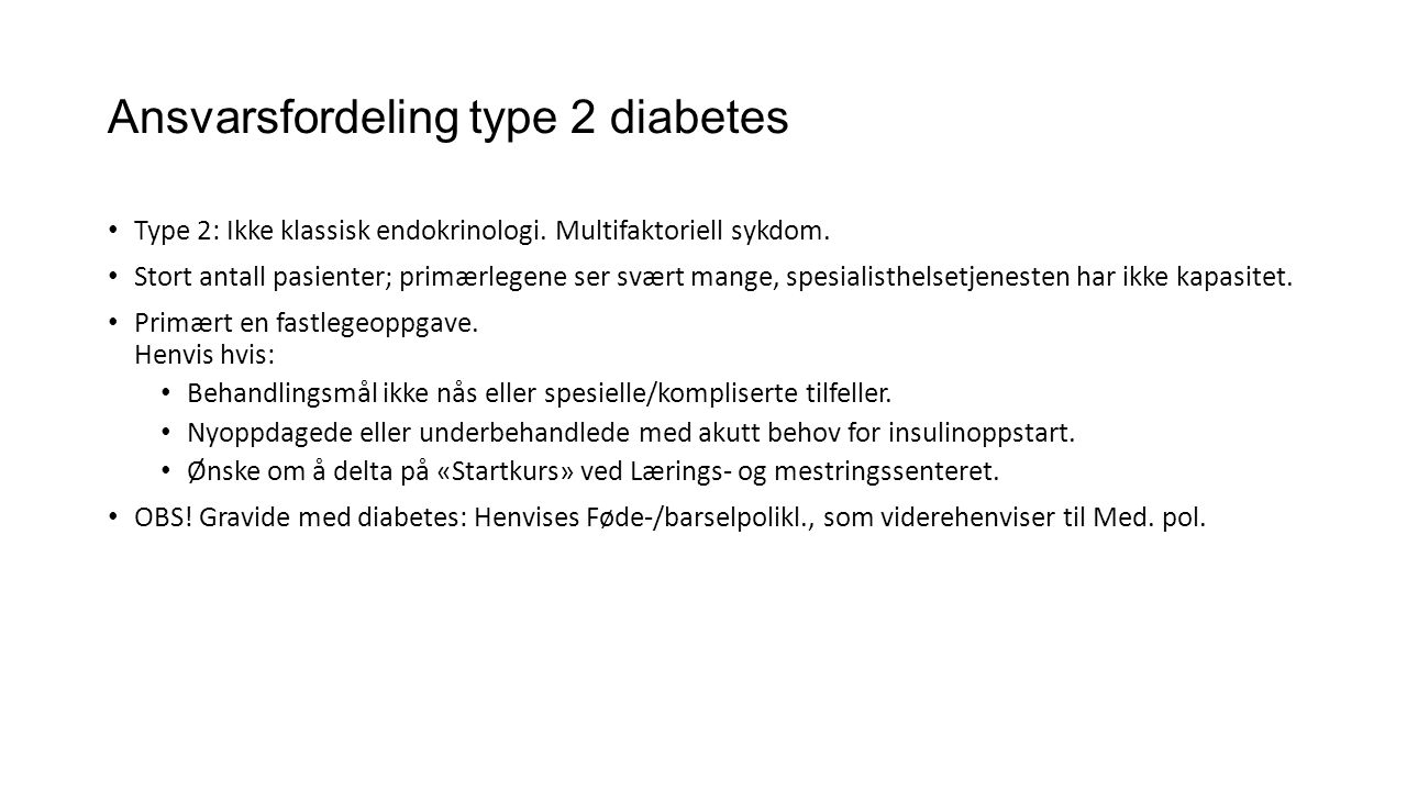 Ansvarsfordeling type 2 diabetes