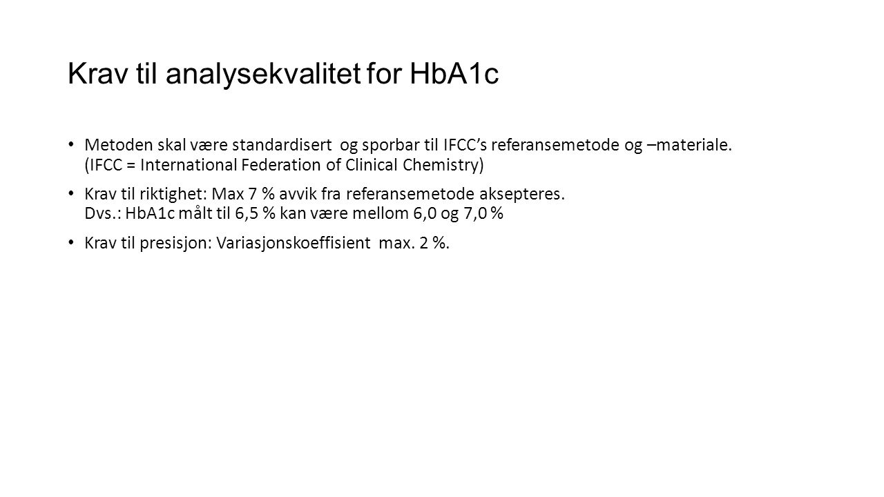 Krav til analysekvalitet for HbA1c