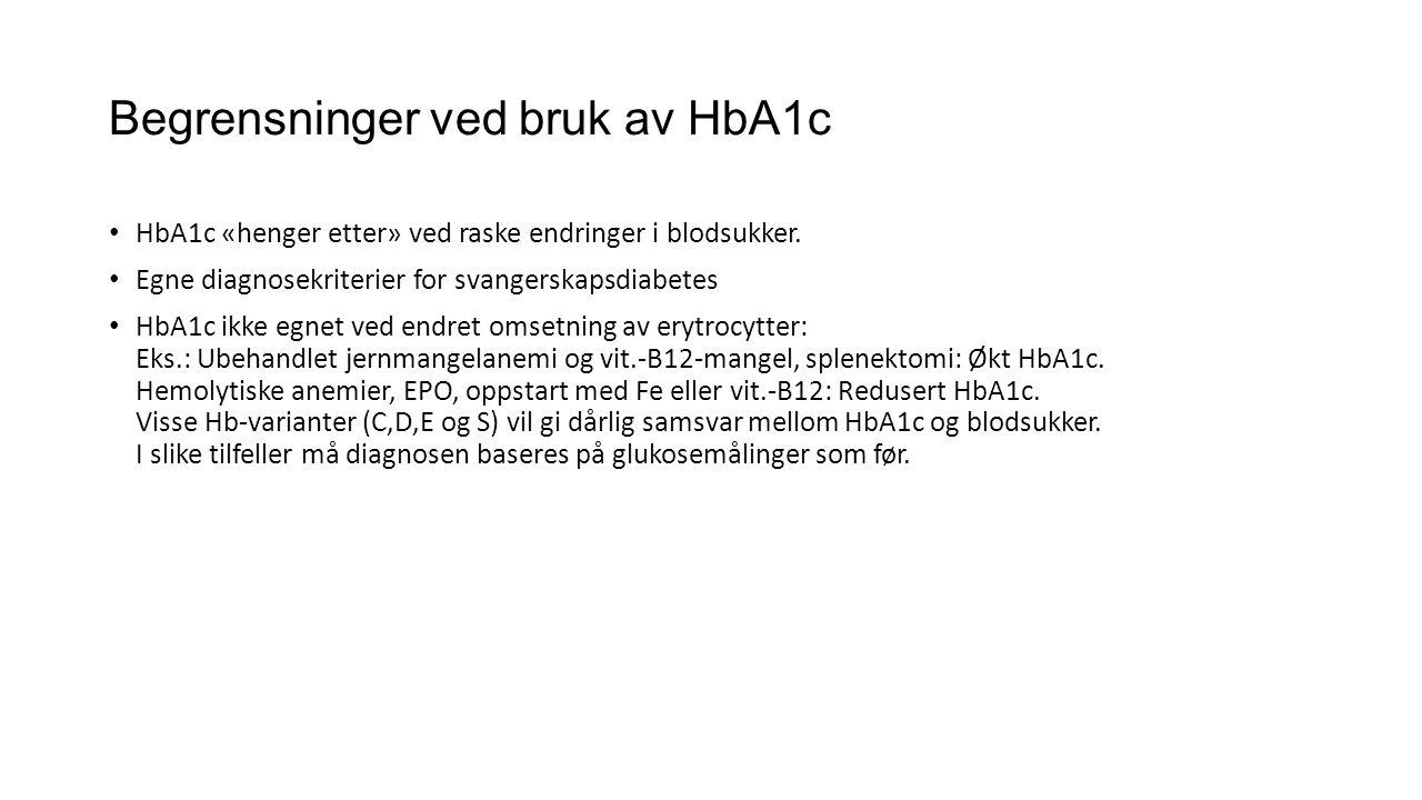 Begrensninger ved bruk av HbA1c