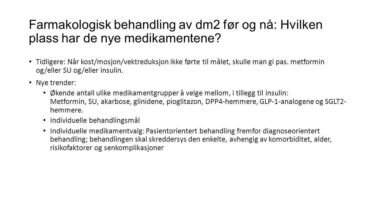 Farmakologisk behandling av dm2 før og nå: Hvilken plass har de nye medikamentene