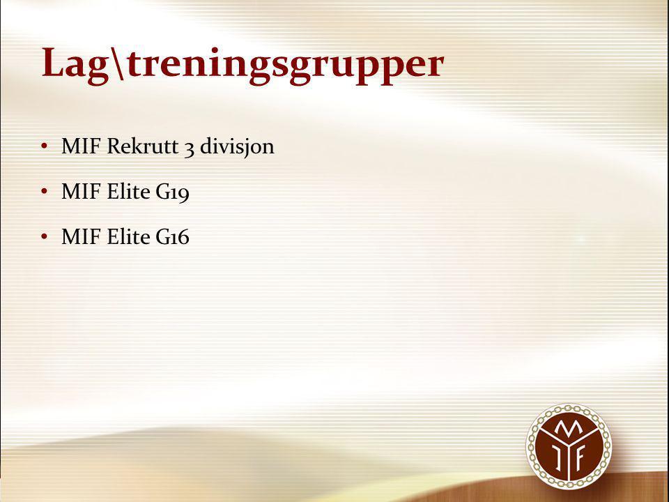 Lag\treningsgrupper MIF Rekrutt 3 divisjon MIF Elite G19 MIF Elite G16