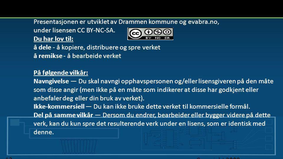 Presentasjonen er utviklet av Drammen kommune og evabra