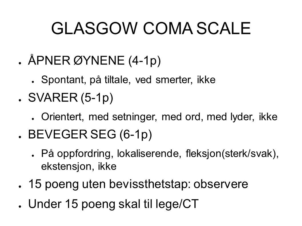 GLASGOW COMA SCALE ÅPNER ØYNENE (4-1p) SVARER (5-1p)