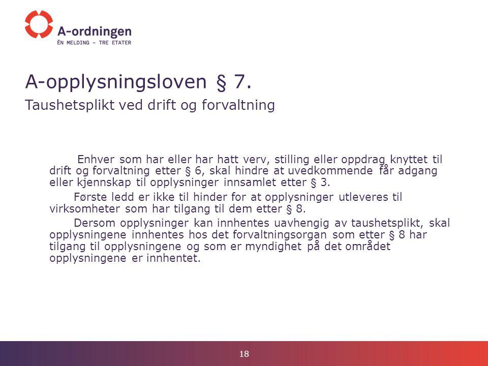 A-opplysningsloven § 7. Taushetsplikt ved drift og forvaltning