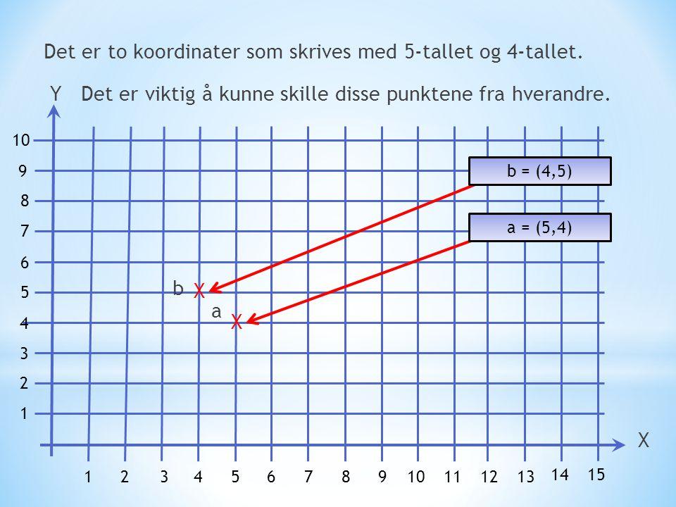 Det er to koordinater som skrives med 5-tallet og 4-tallet.