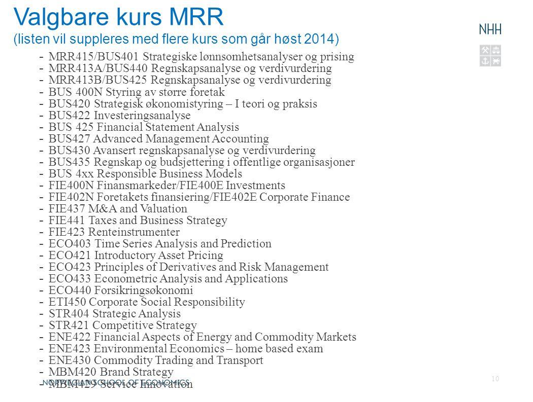 Valgbare kurs MRR (listen vil suppleres med flere kurs som går høst 2014)