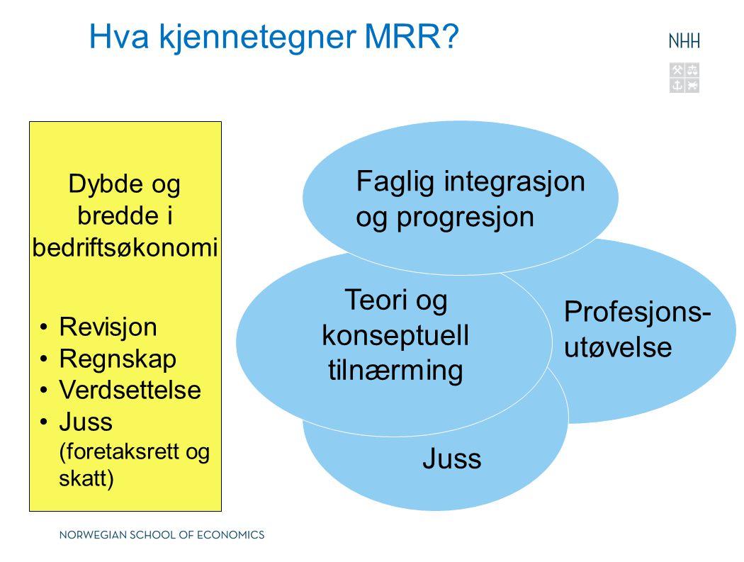 Hva kjennetegner MRR Faglig integrasjon og progresjon