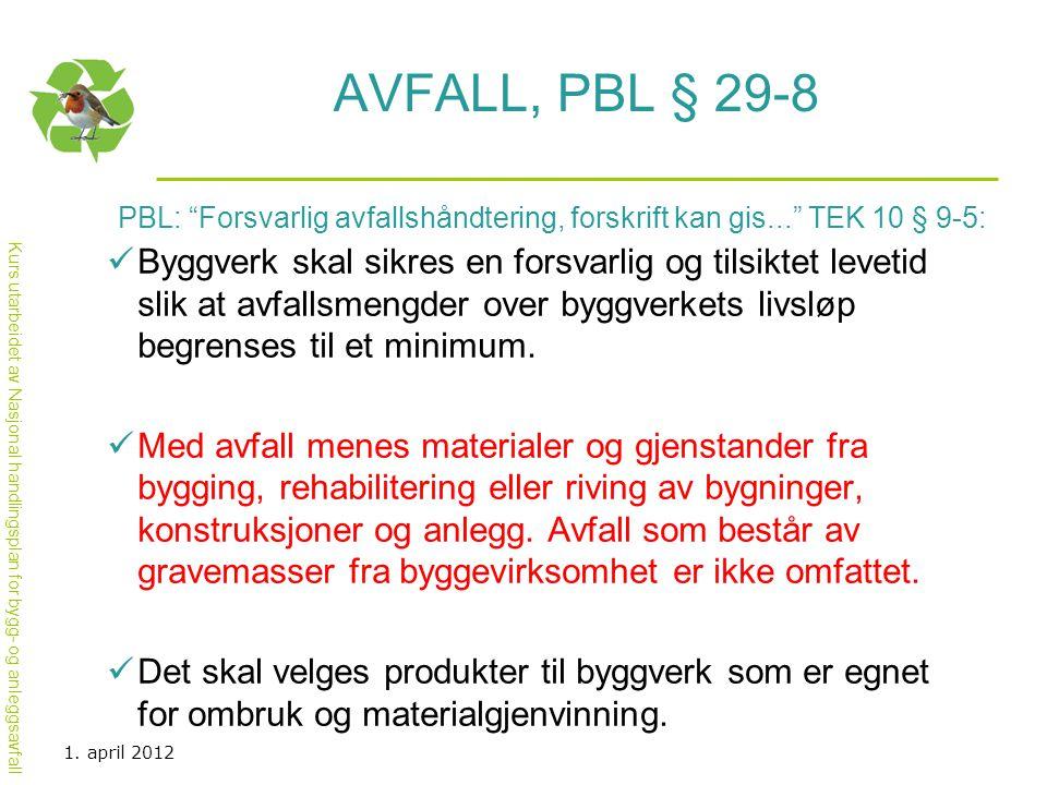 Avfall, PBL § 29-8 PBL: Forsvarlig avfallshåndtering, forskrift kan gis... TEK 10 § 9-5: