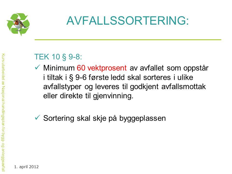Avfallssortering: TEK 10 § 9-8:
