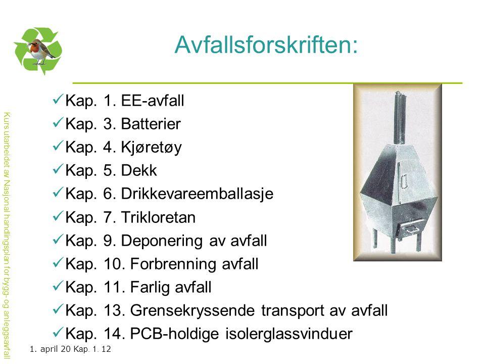 Avfallsforskriften: Kap. 1. EE-avfall Kap. 3. Batterier