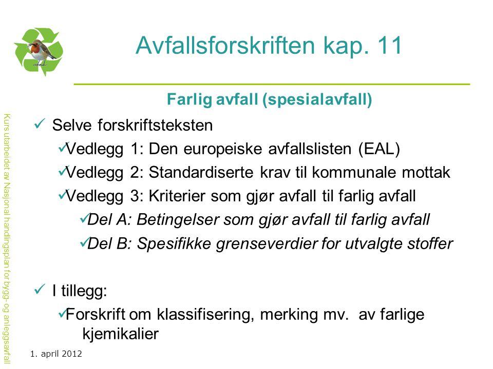 Avfallsforskriften kap. 11