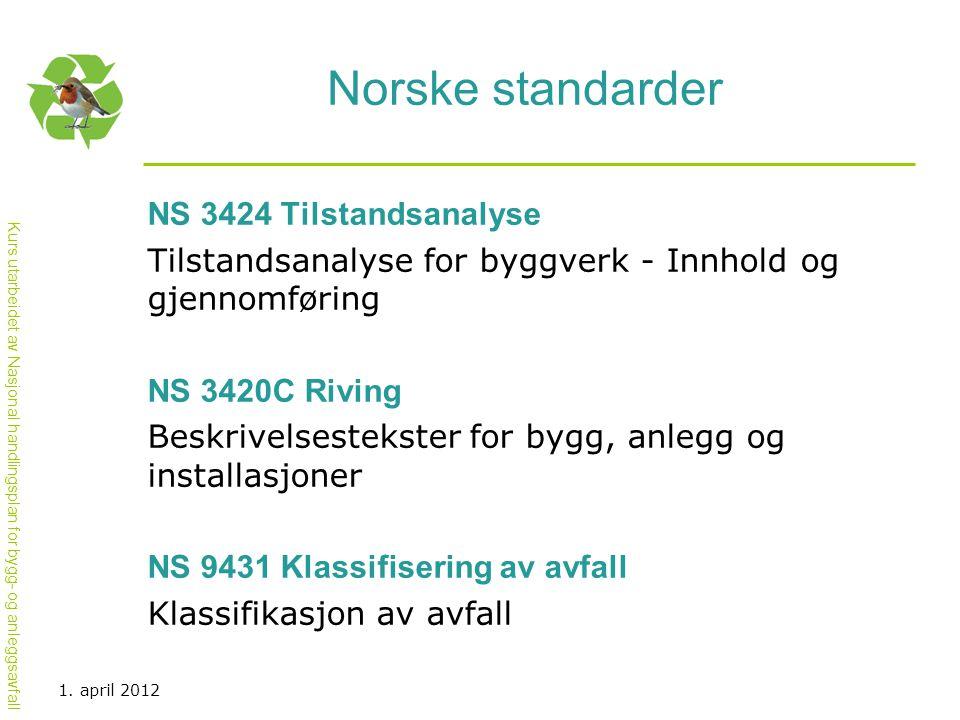 Norske standarder NS 3424 Tilstandsanalyse