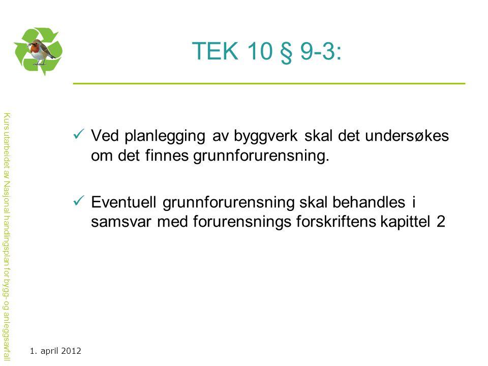 TEK 10 § 9-3: Ved planlegging av byggverk skal det undersøkes om det finnes grunnforurensning.