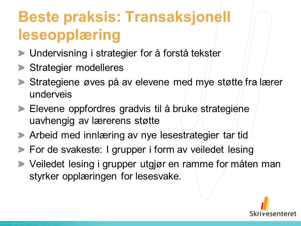 Beste praksis: Transaksjonell leseopplæring