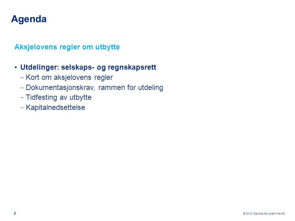Agenda Aksjelovens regler om utbytte
