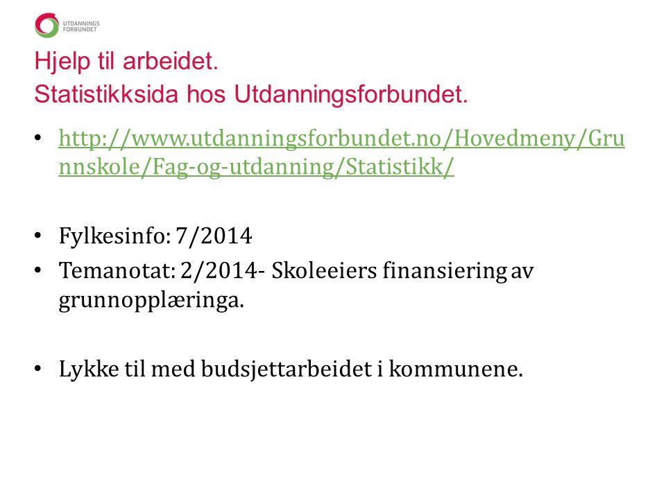 Hjelp til arbeidet. Statistikksida hos Utdanningsforbundet.