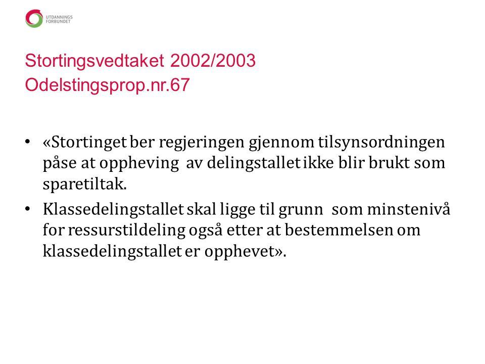 Stortingsvedtaket 2002/2003 Odelstingsprop.nr.67