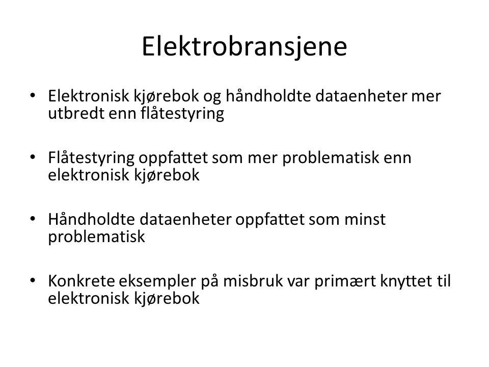 Elektrobransjene Elektronisk kjørebok og håndholdte dataenheter mer utbredt enn flåtestyring.