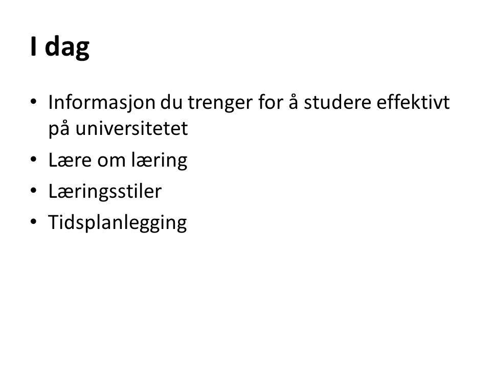 I dag Informasjon du trenger for å studere effektivt på universitetet